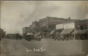Dunlap IA Street Scene Cars & Stores c1920 Real Photo Postcard