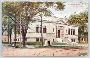 Winona Minnesota~Public Library~Family on Sidewalk in Front~1907 Postcard