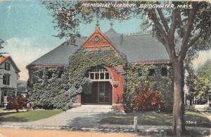 Bridgwater Massachusetts Memorial Library Exterior Antique Postcard K22370