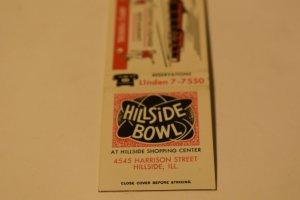 Hillside Bowl Restaurant Bowling Illinois 20 Strike Matchbook Cover