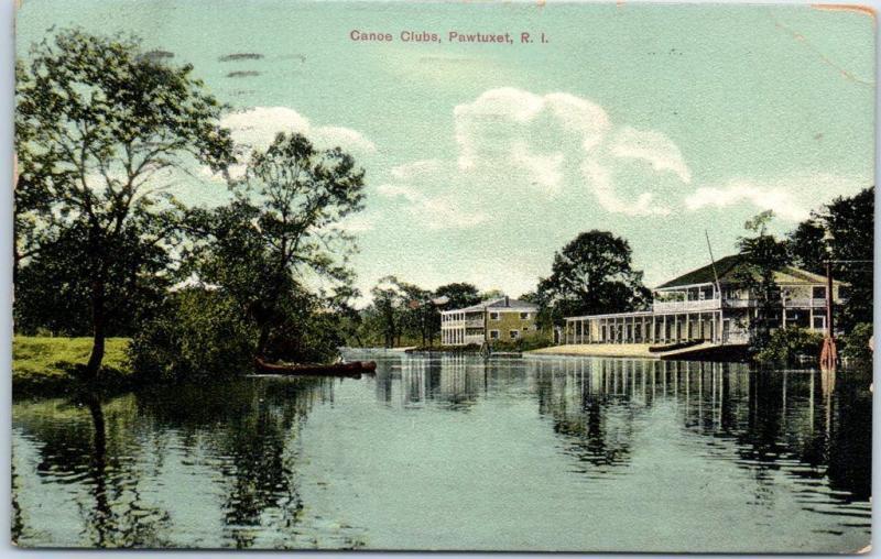 Pawtuxet, Rhode Island Postcard Canoe Clubs River View - 1909 RI Cancel