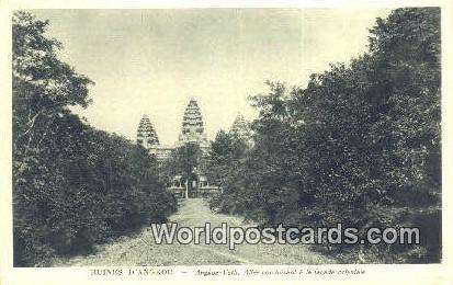 Ruines D'Angkor Cambodia, Cambodge Angkor Vath, Alee conduisant a la facadce ...