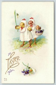 Easter Fantasy~Lil Girl Chicks~Bonnets & Bibs~Carry Snowdrop Lily & Violets~E-55