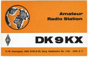 QSL, DK9KX, Germany, 1977