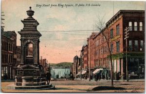 King Street from King Square, St. John New Brunswick Vintage Postcard J18