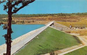 EUFAULA OKLAHOMA EUFAULA DAM WITH 600 MILES OF SHORELINE POSTCARD c1960s