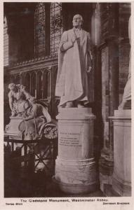 The Gladstone Monument London Real Photo Character Statue Postcard