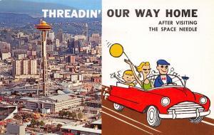 Seattle Washington~Downtown~Cartoon Couple Threadin' Way Home~Space Needle~1960s