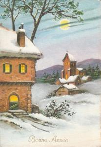 New Year winter seasonal greetings fantasy postcard Bonne Annee