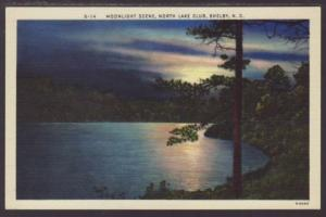 Moonlight Scene,North Lake Club,Shelby NC Postcard