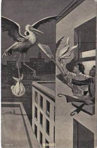 Stork Being Shooed By Couple