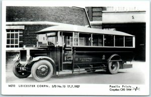 Leicester, England UK RPPC Real Photo Postcard Motor Bus at Station Depot Unused