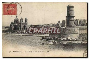 Old postcard Marseille Fort St John and Cathedrale