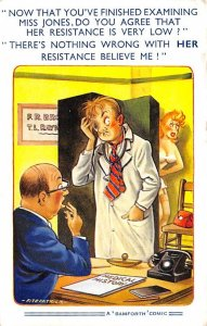 Occupation, Doctor Post Card Two Doctors Talking About a Woman Comic PU Unknown