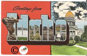 Old Big Letter Postcard Greetings From Idaho Large Letter State Capitol