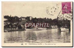 Old Postcard Thonon Les Bains View Jack Lake Boat
