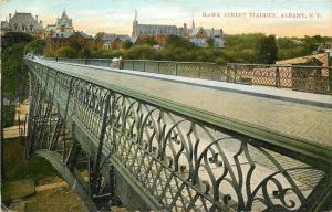 Albany New York~Hawk Street Viaduct~Looking Below~Skyline~1910 Postcard