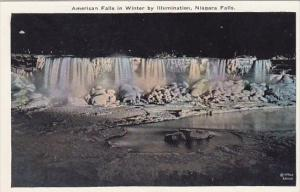 New York Niagara Falls American Falls In Winter By Illumination