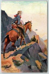 R Farrington Elwell~Western Artist~Cruising for Cattle~Horseback Rider on Ledge