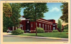 BEAVER, Pennsylvania  PA    HIGH SCHOOL Auditorium Gymnasium  c1940s    Postcard