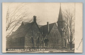 WILSON NY METHODIST CHURCH ANTIQUE REAL PHOTO POSTCARD RPPC w/ CORK CANCEL