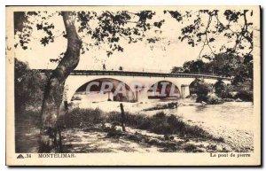 Old Postcard montelimar the stone bridge