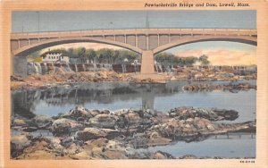 Pawtucketville Bridge & Dam Lowell, Massachusetts Postcard