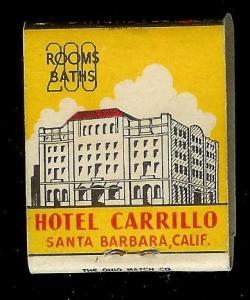 HOTEL CARRILLO Santa Barbara 1940's Full Unstruck Matchbook