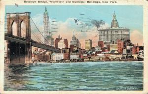 USA Brooklyn Bridge Woolworth and Municipal Buildings New York 01.85