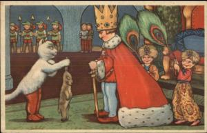 Art Deco Fairy Tale Puss N Boots Cat Brings Rabbit to King c1920 Postcard