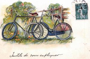 Postcard, French Vintage Style Art Bicycles, Country, Carte Postale France 74L