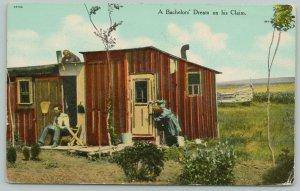 Minot North Dakota Cancel~Bachelors Dream On His Claim~Women Work on Cabin~c1910