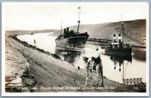 SUEZ CANAL ANTIQUE PHOTOMONTAGE REAL PHOTO POSTCARD RPPC SHIPS CAMEL collage