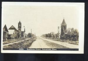 RPPC JAMESTOWN KANSAS RESIDENCE STREET SCENE VINTAGE REAL PHOTO POSTCARD