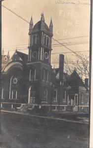 Villisca Iowa~First United Methodist Episcopal Church~Postcard 1911 RPPC