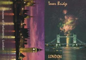 Tower Bridge Firework Display London Houses Of Parliament Illuminations Postcard