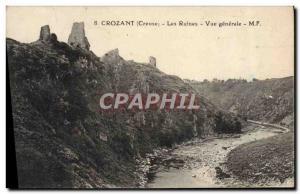 Old Postcard Crozant Ruins General view