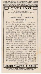 """Cigarette Cards Players CYCLING No 15 """"Invincible"""" Tandem Tricycle"""