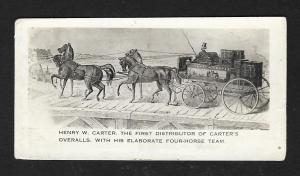 VICTORIAN TRADE CARD Carters Overalls 4 Horse Drawn Carriage