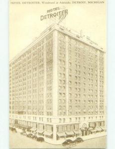 Unused 1940's DETROITER HOTEL Detroit Michigan MI hr9784