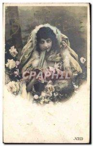 Postcard Old Woman Fantasy Fan