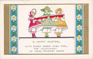 Embossed, Three Girls Singing From A Large Red Book, A Happy EASTER, 1900-1910