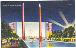 1939 New York World's Fair Hall of Communications Building Postcard