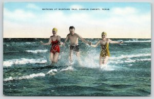 Corpus Christi Texas~Mustang Isle~Trio Splash in Surf~Bathing Caps~1940s Linen