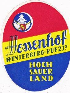 Germany Winterberg Hessenhof Vintage Luggage Label sk3210