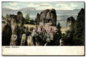 Postcard Old Basteibrucke Sachs Schweiz