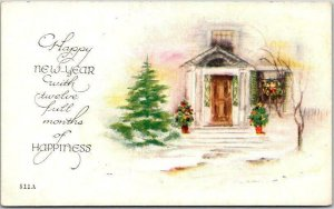 Vintage HAPPY NEW YEAR Greetings Postcard Church Winter Scene c1910s UNUSED