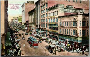1910s Los Angeles CA Postcard Broadway North from 7th Trolley Newman Unused