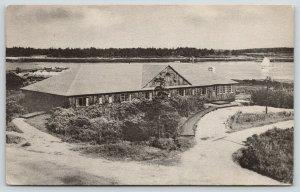 Sebasco Estates Maine~Early Bird House~Sailboat in Distance~1939 B&W Postcard