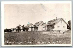 Beulah Michigan~Cottages Along Crystal Lake~X Mark~Took a Ride & a Dip~1934 RPPC